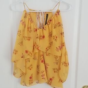 Walter Baker Yellow, Floral, Cold Shoulder Tank